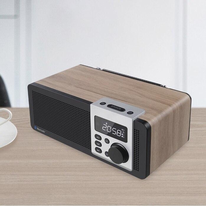 Haut-parleurs en bois bluetooth sans fil double radio stéréo portable multi-média Mini réveil son caisson de basses corticale