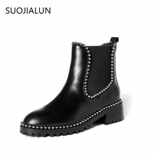 2017 Fashion Women Ankle Boots Med Square Heel Women Shoes Genuine Leather Retro Rivets Chelsea Boots British Style Casual Black