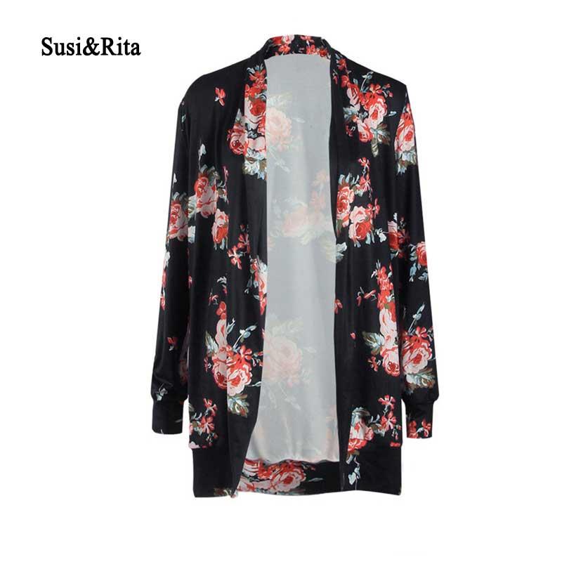 Susi&Rita Plus Size Cardigans Women 2018 Long Sleeve Floral Print Kimono Cardigan Autumn Casual Sweater Coat Female Sueter Mujer cardigan