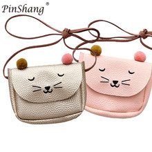 Children Shoulder Bag Mini Cat Ear Messenger Bags Simple Small Square Bag Kids All-Match Key Coin Purse Cute Princess Handbags(China)