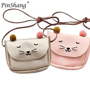 Kinderen Schoudertas Mini Kat Oor Messenger Bags Eenvoudige Kleine Vierkante Tas Kids All-Wedstrijd Sleutel Portemonnee Leuke prinses Handtassen(China)