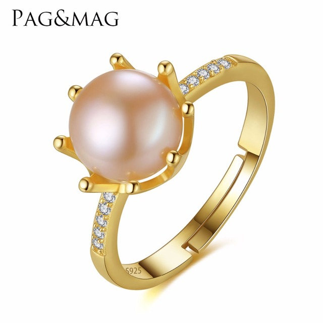 PAG&MAG Brand Crown Shape Eight Paws Natural Pearl 8-8.5mm Sterling Silver Weddi