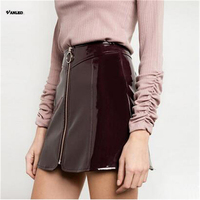 VANLED European American Street 2017 New Selling Women Skirt Polyester Sexy Club Skirts Womens Patent Leather