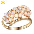 Hutang Genuine Milky Opal Flower Ring Solid 925 Sterling Silver Gemstone Jewelry For Women's High Quality