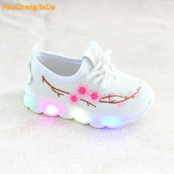 2018 New Kids Led Shoes Girls Floral Shoes With Led Lights Little Girls Glowing Sneakers Children Casual Shoes Student pink