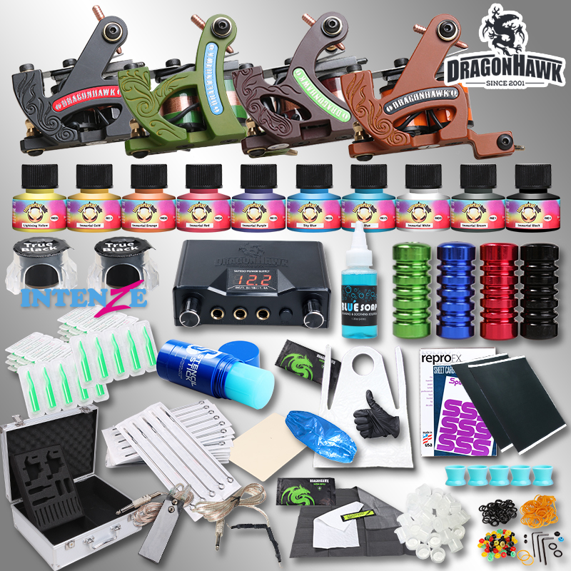 Professional Complete Tattoo Kit Tattoo Machine 4pcs Liner Shader Tattoo Gun Immortal Tattoo Ink Set Power Box Grip Tips Supply 4 pcs liner shader tattoo rotary motor gun machine kit set swashdrive