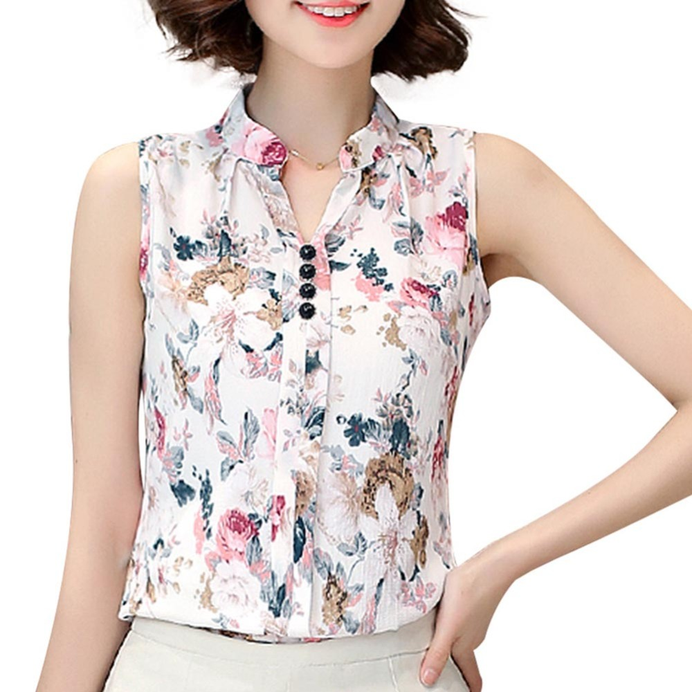 Summer Women Casual Sleeveless V-Neck Fashion Women   Blouse     Shirt   Chiffon Print   Blouses   Ladies Blusas