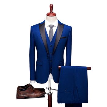 England Style Men dress suit 3 piece set Slim design  suit Blazer and pants and vest Waistcoat large size 4xl