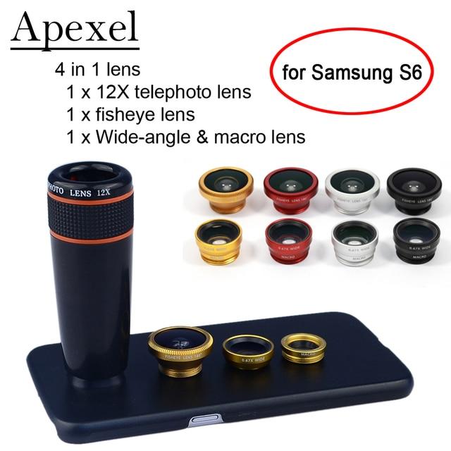 Apexel Комплект Телефон Объектива 12X Телефото Объектив Рыбий Глаз Широкий Угол Макро-Объектив с Чехол для Samsung galaxy S7 edge plus S6 S5 примечание 1285