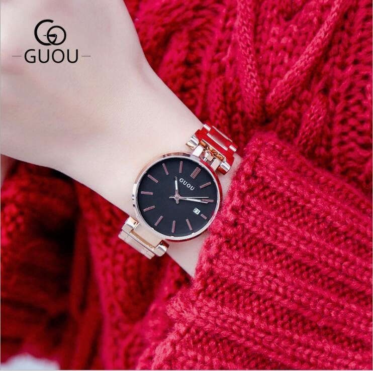 GUOU Watches Women Top Brand Women Watch Rose Gold Bracelet Watch Stainless Steel Auto Date Watch relogio feminino New Arrival free shipping new arrival quartz watch women s punk bracelet rivet digital watch relogio masculino watch women s jewelry watch page