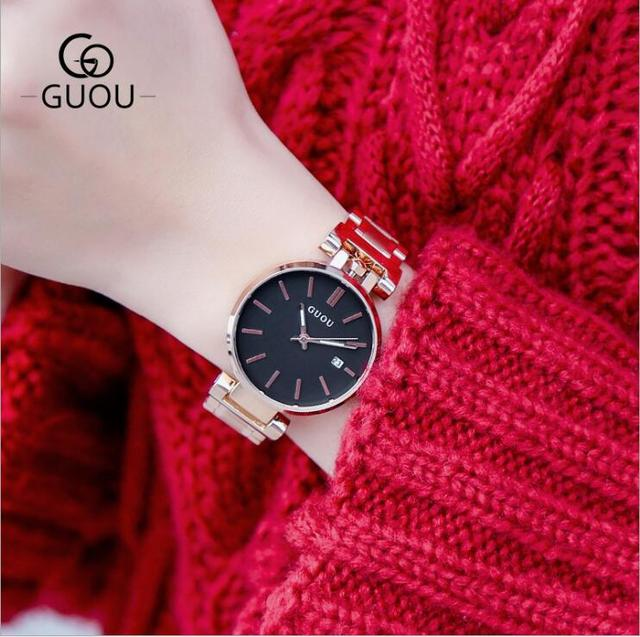 GUOU Watches Women Top Brand Women Watch Rose Gold Bracelet Watch Stainless Stee