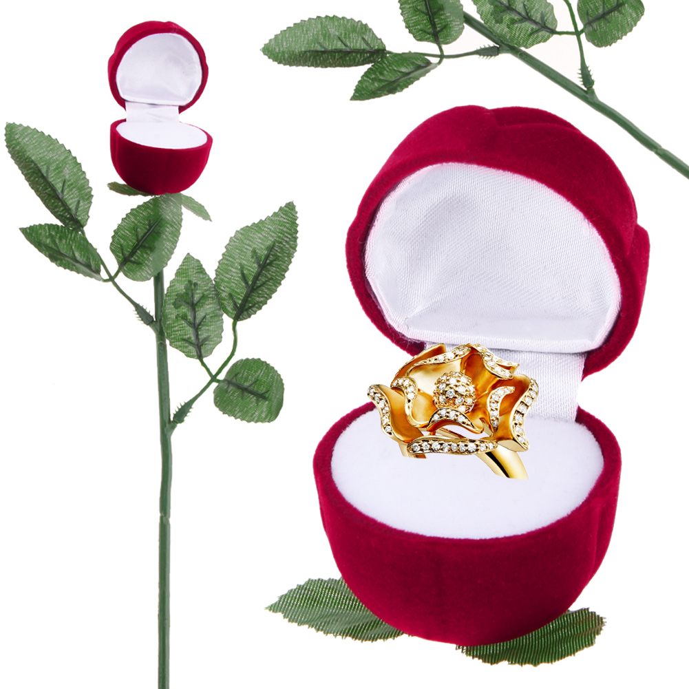 Creative Propose Ring Jewelry Box Red Rose Engagement Wedding Earrings Ring Jewelry Storage Case Jewelry Organizer Gift