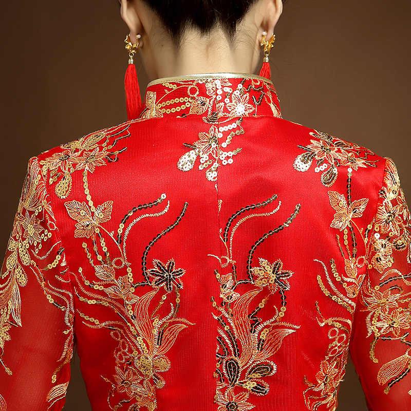 Cổ điển màu đỏ Cô Dâu Thêu Sườn Xám Hiện Đại Truyền Thống Trung Quốc phong cách Đám Cưới Ăn Mặc Oriental Womens Cái Yếm Vestidos Kích Thước S-XXL