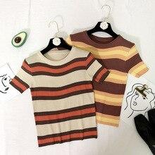 2019 Women tshirt Summer Casual Comfortable sunmmer t shirt Short Sleeve Rainbow Stripe Slim Fit Knitwear T-shirt
