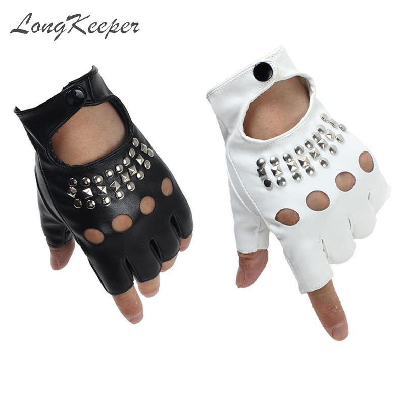 2019 Fashion Half Finger Gloves Women PU Leather Fingerless Driving Gloves Rivet Hollow Dancing Guante For Men Black White Luvas
