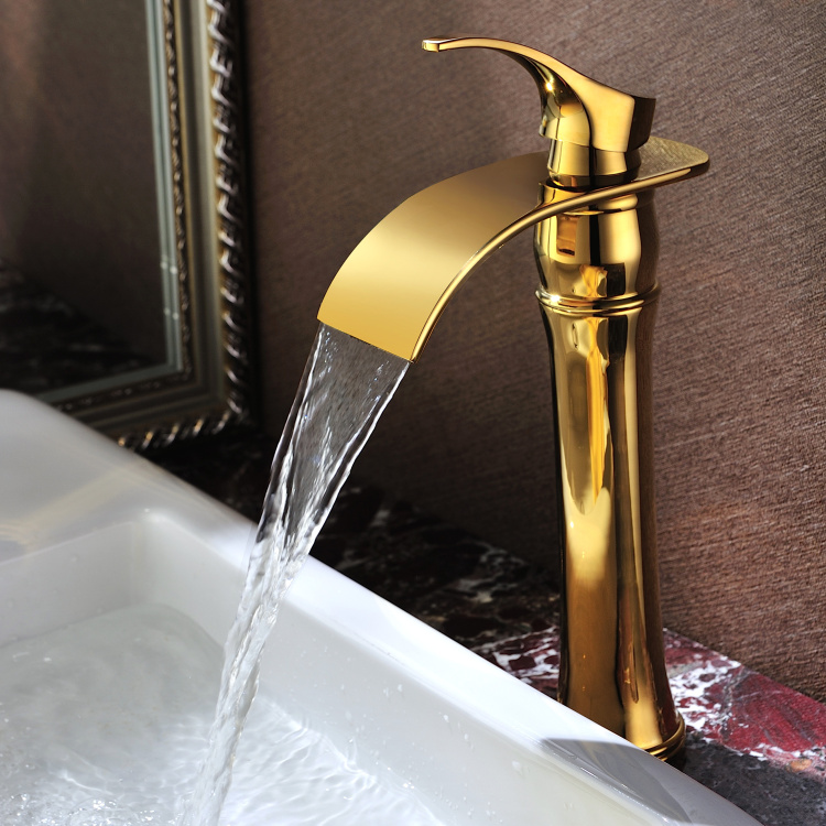 Free ship contemporary single hole gold  Finish Bathroom Sink Tall Faucets Vessel TapFree ship contemporary single hole gold  Finish Bathroom Sink Tall Faucets Vessel Tap
