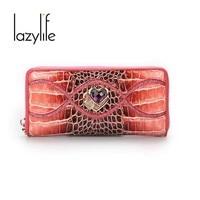 LAZYLIFE Women Wallets Genuine Leather Drilling Pattern Long Coin Purse Money Pocket Holders Female Wallet Clutch Bag