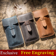 2020 New Vintage Leather Pencil Case Top Layer Leather Handmade Pen Bag Planner Accessories Gifts For The New Year 2019 For Men