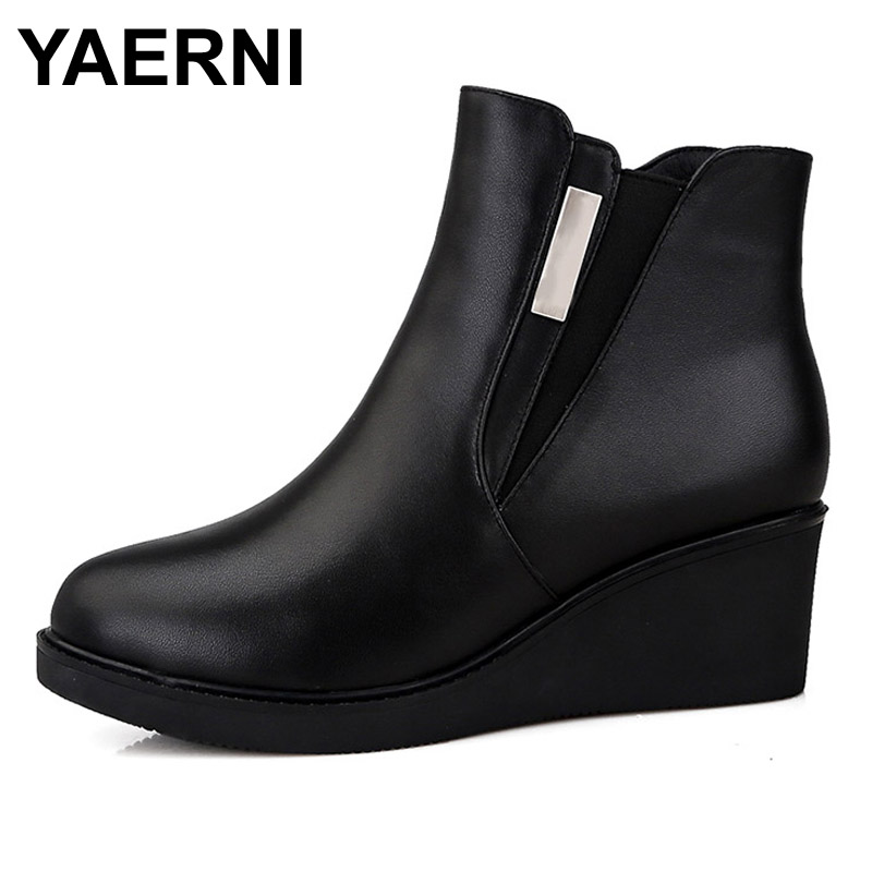 YAERNI Women's Shoes Winter Genuine Leather Ankle Boots With Platform Big Size High Quality Brand Women Shoes Non-Slip Warmful women s genuine suede leather hemp wedge platform slip on autumn ankle boots brand designer leisure high heeled shoes for women