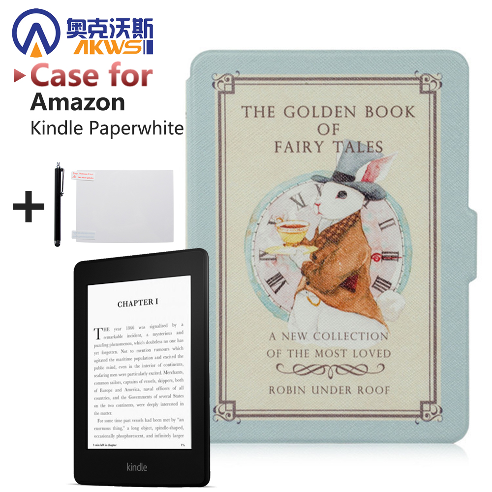 Ultra Slim Vintage Map Pattern with magnetic Smart Cover case for Amazon Kindle Paperwhite ebook case +Screen Protector+stylus cartoon painted flower owl for kindle paperwhite 1 2 3 case flip bracket stand pu cover for amazon kindle paperwhite 1 2 3 case