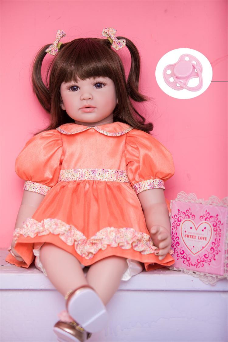 60 cm Silicone Reborn Bébé Poupée Jouets Comme Réel 24 pouces Vinyle Princesse Toddler Bébés Poupées Enfants Cadeau D'anniversaire Jouer maison Coucher T