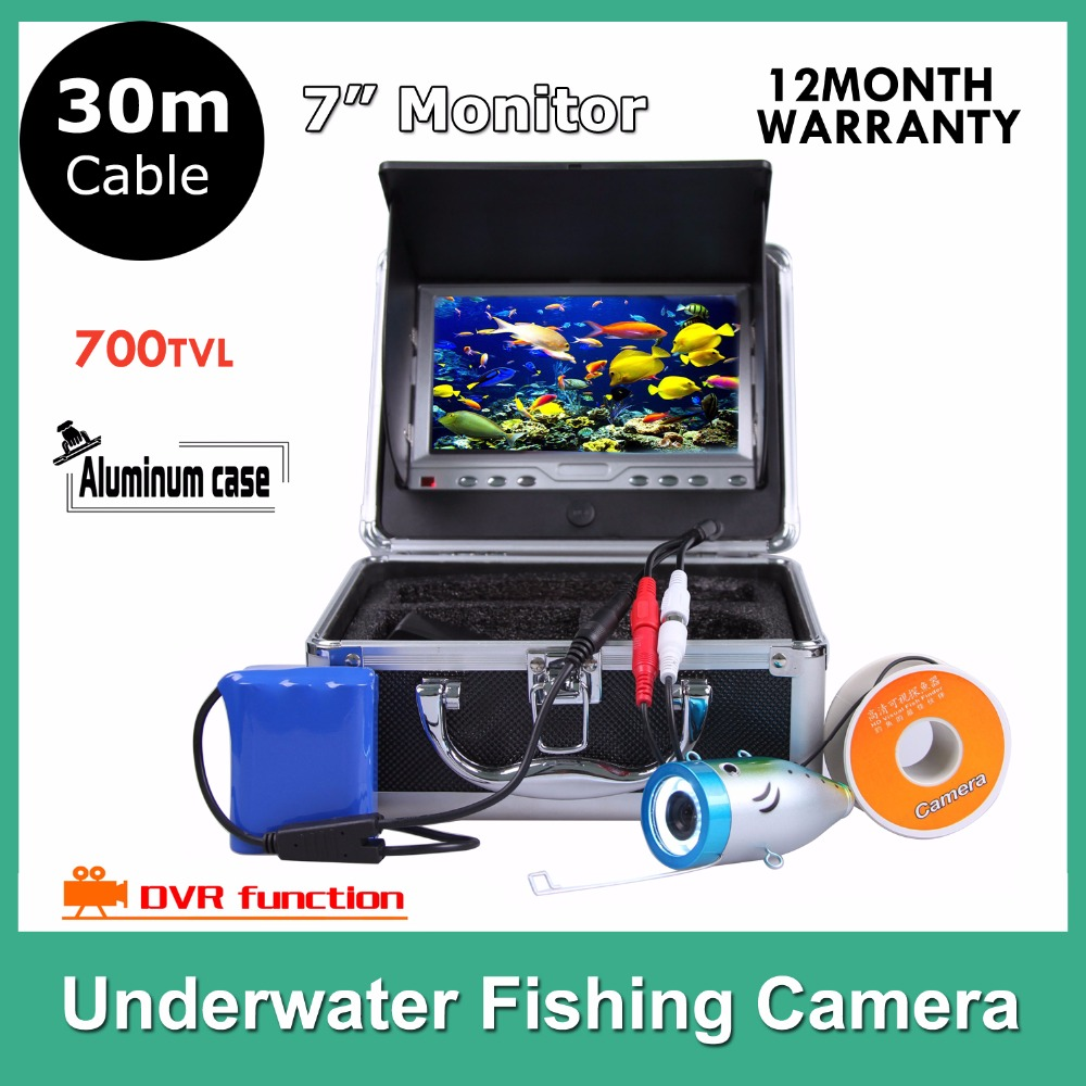 7 Inch LCD Underwater Video DVR Camera System Fish Finder 12pcs Light Fishing Monitoring 700TVL waterproof 30M Cable 2 4g wireless fish finder underwater fishing camera video free soft app 50m underwater breeding monitoring for fish searching