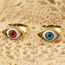 1Pair Creative Eye Rings Gothic Exaggerated Punk Fashion Brown Blue Chic Jewelry Accessories Gifts