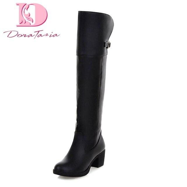 Doratasia Marka büyük boyutu 34-40 Kare Topuklar Diz Yüksek Çizmeler Kadın Ayakkabı Dropship Yeni Moda Çizmeler kadın ayakkabısı Kadın