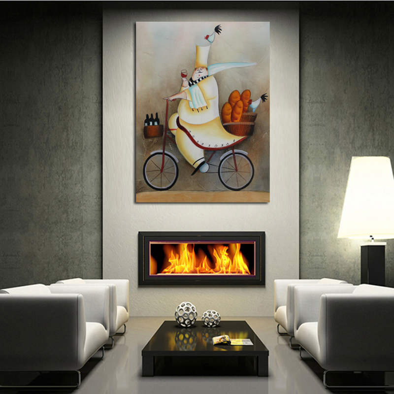 New Handpainted Abstract Art Driving Cook Oil Paintings on Canvas Abstract Wall Sticks Unique Gift for Home Decor