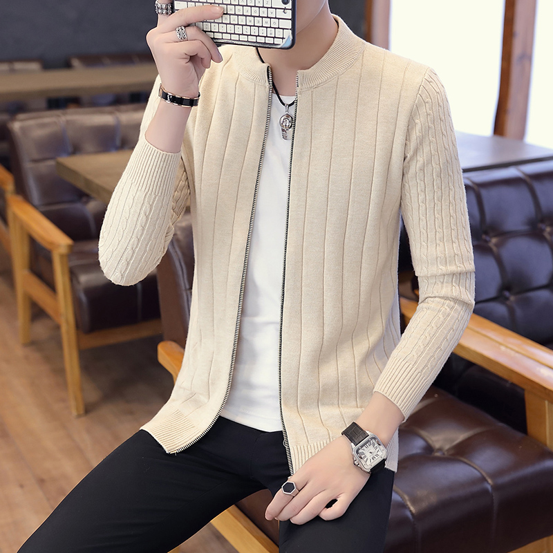 HOO 2019 Men's Cultivate One's Morality Fashion Personality Autumn Zipper Knitted Cardigan Fashion Twist Collar Sweater