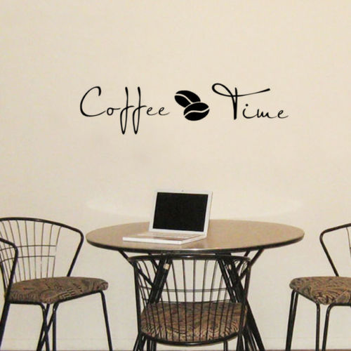 Coffee Time Quote Wall Sticker Home Decor Dining Room Self Adhesive Vinyl Decals For Cafe Removable Decoration Mural ZA528 In Stickers From