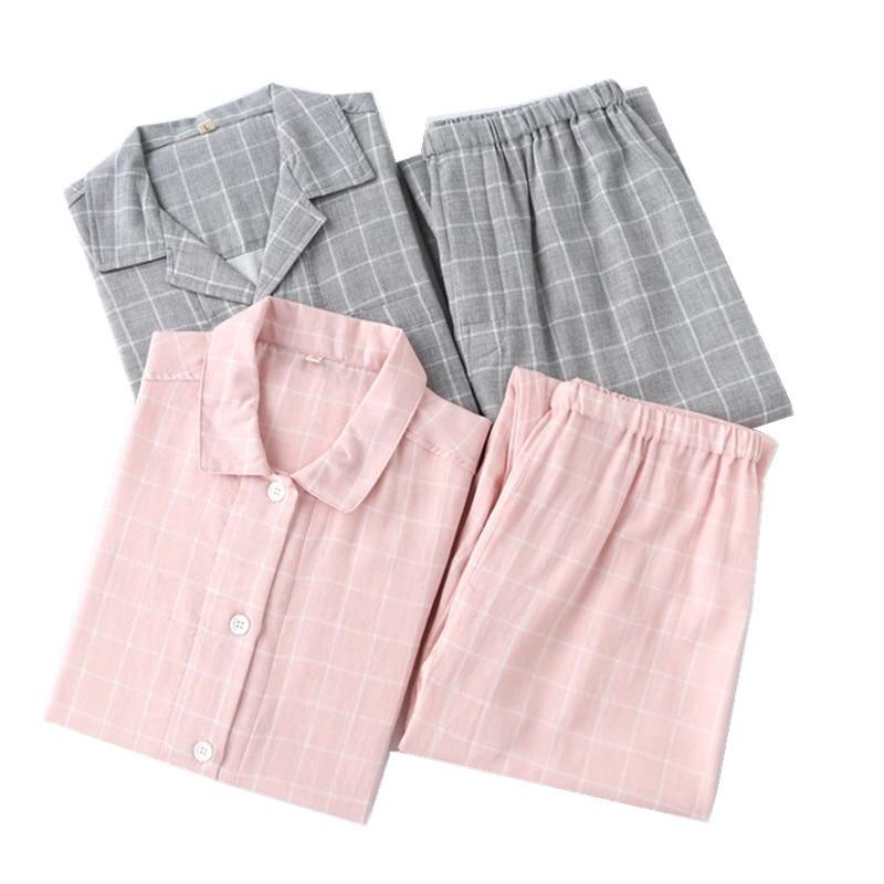 Pajamas-Sets Sleepwear 100%Cotton Men Casual Plaid Spring Mujer Lovers Simple