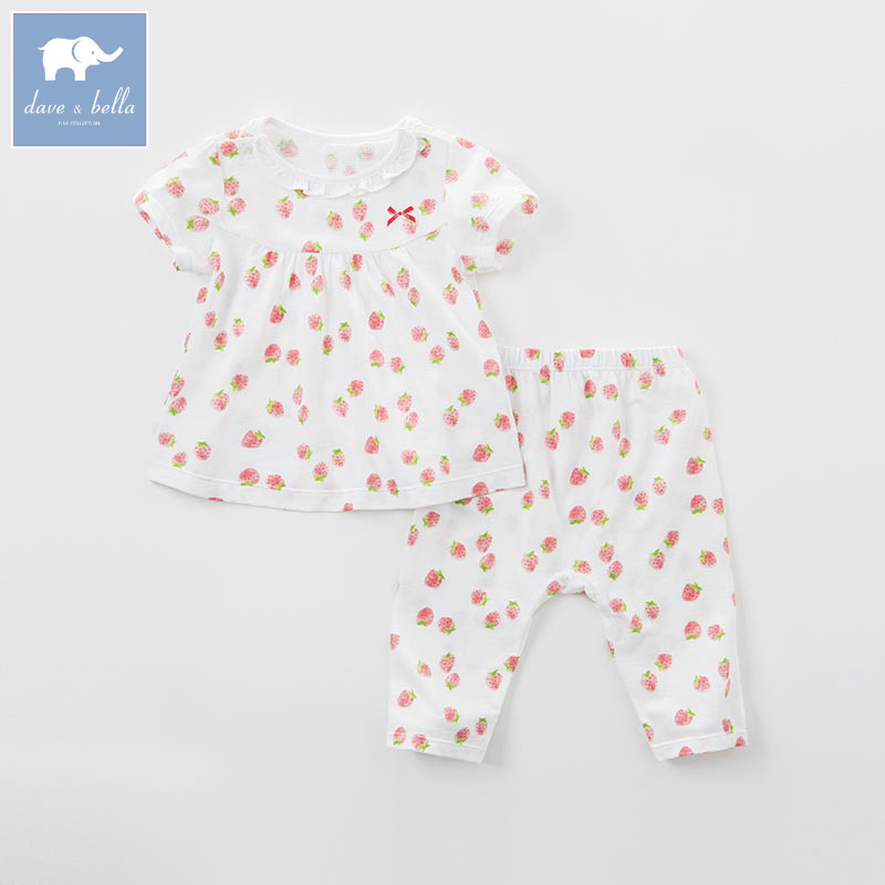DB7564 dave bella summer baby girls clothing sets kids print suit children toddler outfits infant high quality clothes