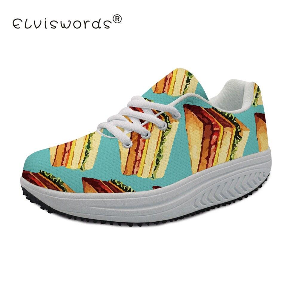 Elviswords Femmes Customized Casual Alimentaire Pizza Croissante Chaussures cc4299as cc4301as Hauteur Feminino Dames Tenis Imprimer cc4302as Sandwich Appartements Sneaker Battantes cc4300as cc4303as rBQedCxoW