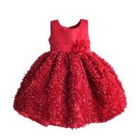 Girls Christmas Dress Red Petal Party Wedding Kids Dresses For Girl Clothes Children Costumes Disfraz Infantil