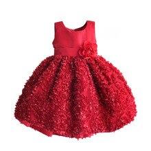 Ragazze Di Natale Vestito Rosso Petalo di Cerimonia Nuziale Del Partito Bambini Vestiti per I Vestiti Della Ragazza Dei Bambini Costumi disfraz infantil 1 6 t