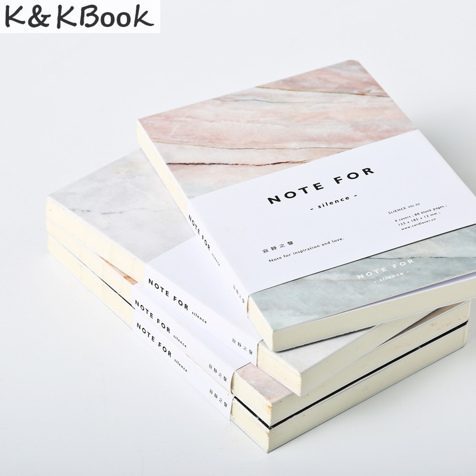 K&KBOOK 2017 Cute School Notebook A5 Japanese Marble 80 Pages Blank Dairy for Silence Journal Material Escolar Sketchbook