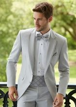 Grey Suit Men Blazer Beach Wedding With White Pants Smart Terno Slim Fit Tuxedo Coat Prom Jacket Costume Homme 2PCS