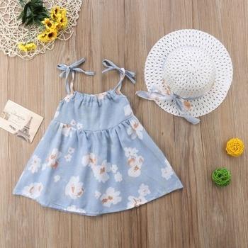 Newborn Toddler Girls Summer Floral Tutu Dress Vestidos Kids Baby Girl Princess Dresses Sundress Hats 2PCS Clothing Set Sunsuit 5