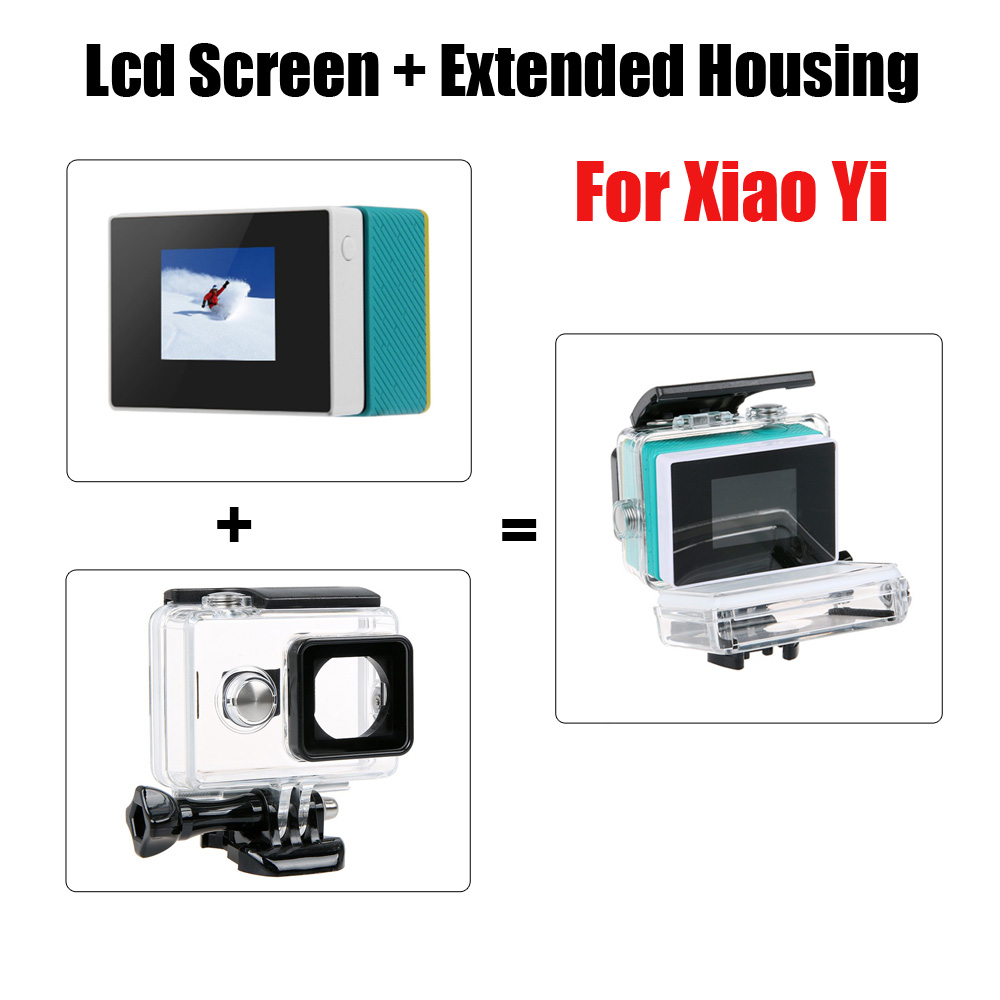 For Xiaoyi LCD Screen LCD display monitor + External Waterproof Housing Case for Xiaomi yi Original Sport Camera
