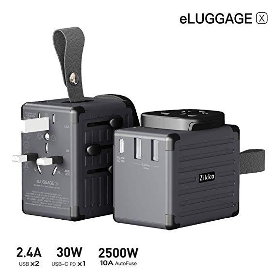 Adaptador de Viagem Zikko eLUGGAGE X USB-C PD 30W International Travel Plug Adapter para o REINO UNIDO, UE, UA, EUA