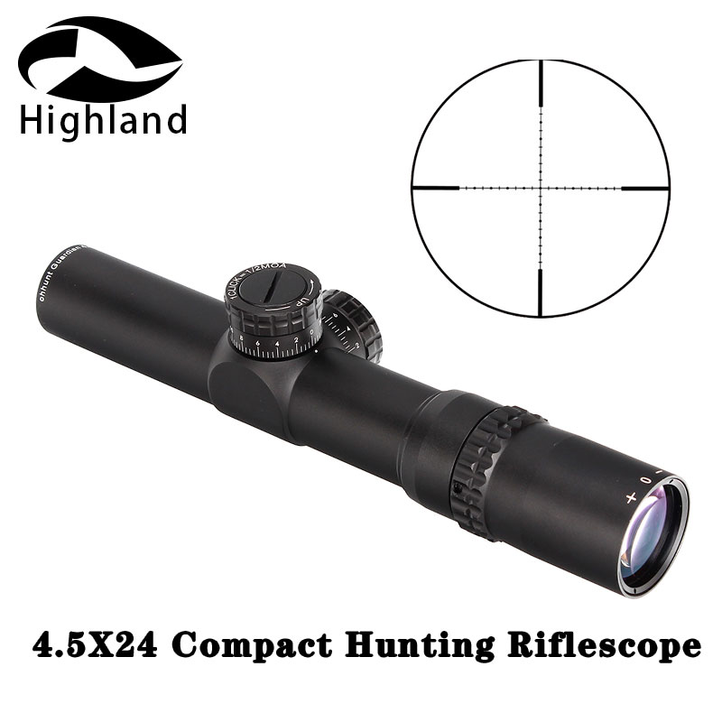 Tactical Rifle Scope 4.5X24 Compact Hunting Riflescope 1/2 Half Mil Dot Wire Reticle Optical Sights With Turrets Reset