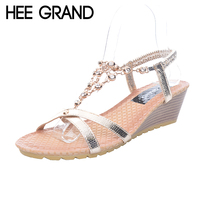 HEE GRAND Women Sandals Crystal Chain Summer Shoes Wedges Heel Rhinestones Gold Sandals XWZ3577