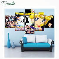 5 pcs,5D DIY Diamond Painting cartoon Anime Sailor Moon diamond Embroidery Full Square drill 3d Cross Stitch Rhinestone Mosaic