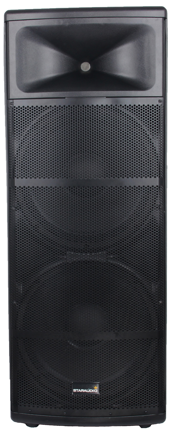 staraudio dual pro 5000W dual 15 powered pa stage speaker usb sd bluetooth led light 2ch vhf wireless microphones system