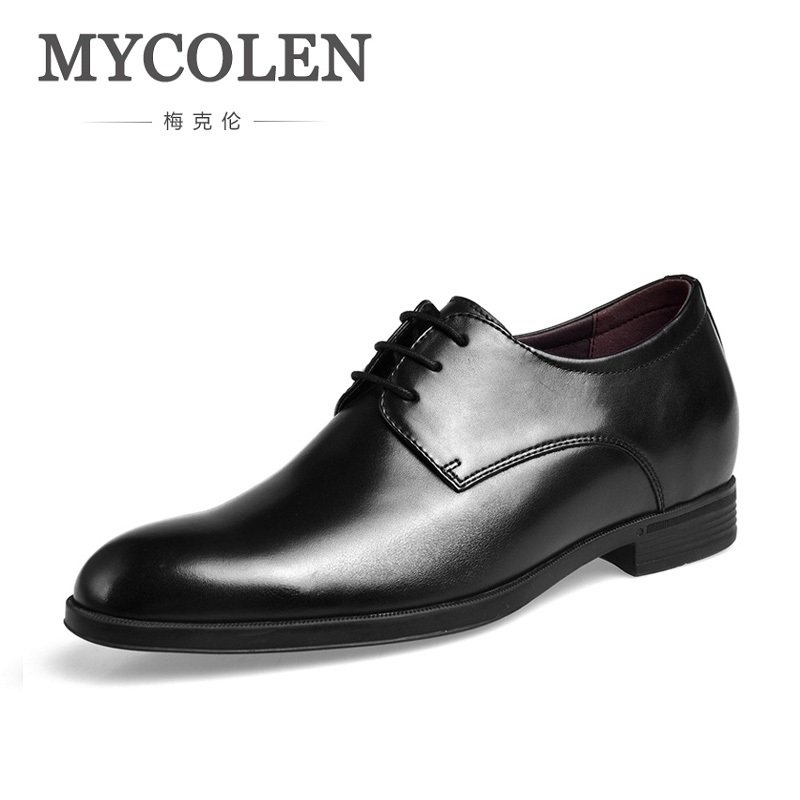 MYCOLEN Men Shoes 2018 Brand Leather Oxford Shoes Gentleman Genuine Leather Wedding Dress Business Men Shoe Height Increasing men s shoes business dress genuine leather evening dress flat shoes brand luxry oxford men loafers wedding leather shoes