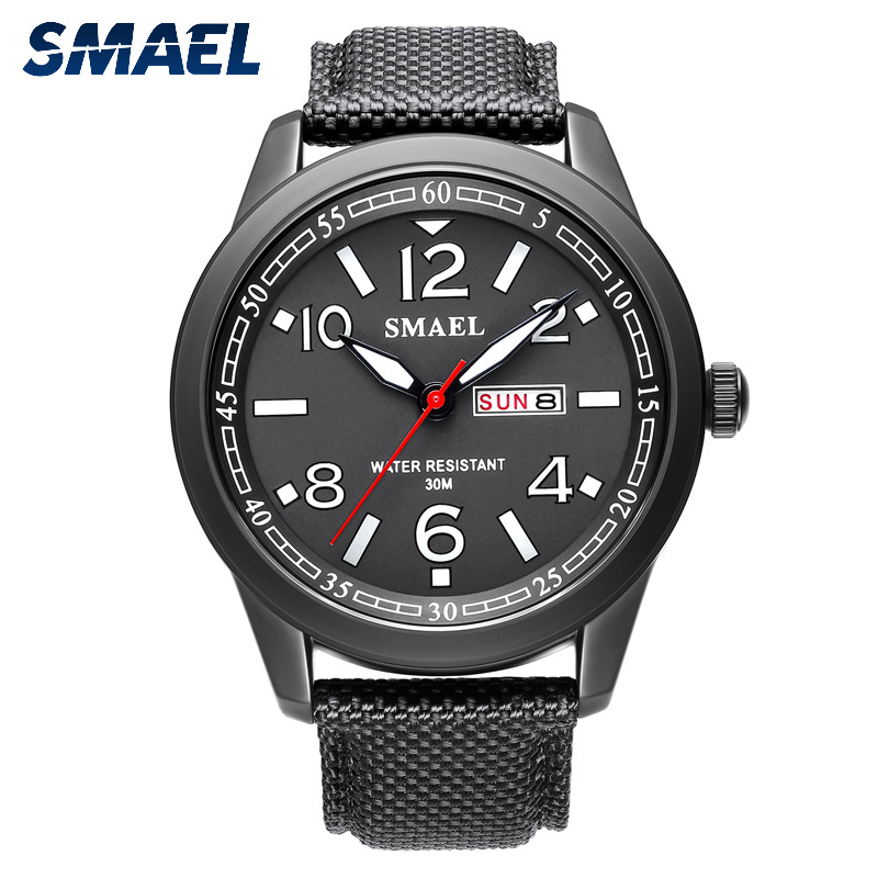 2019 New Fashion Smael Top Brand Leather Men Watches Military Alloy Big Dial Sport Watch Waterproof Wristwatch Digital Bracelet(China)