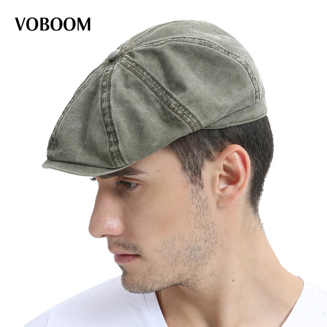 VOBOOM Washed Cotton Newsboy Cap Mens Womens Octangle Cap Gatsby Hat for  Summer Autumn Female Girl d348e972863