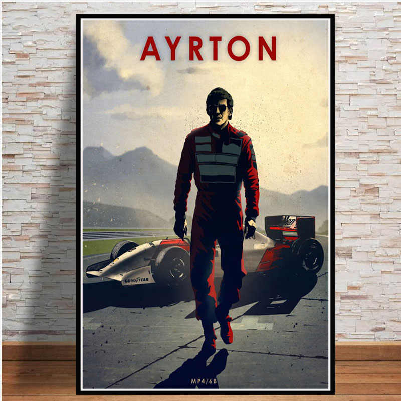 Poster dan Cetakan Hot F1 Driver Ayrton Senna Ken Michael Bintang Olahraga Vintage Seni Lukisan Dinding Gambar Ruang Tamu Rumah dekorasi