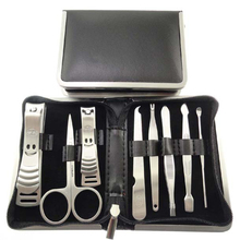 8pcs Stainless steel Finger nail Scissor Tweezers Nail Art Manicure Set Nail Care Tools with Finger